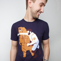 Mens Bear Punch t-shirt Unisex Navy American Apparel Available S M L XL 2XL