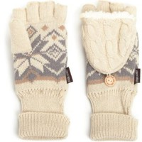 Amazon.com: Muk Luks Women's Snowflake Trim Cable Flip Mitten: Clothing