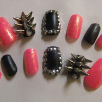 Spiked & Studded Barbie Pink and Black Matte Badass nails false/fake 3D nail