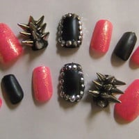 Spiked &amp; Studded Barbie Pink and Black Matte Badass nails false/fake 3D nail