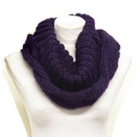 Amazon.com: Purple Ribbed Twisted Cable Knit Infinity Scarf: Clothing