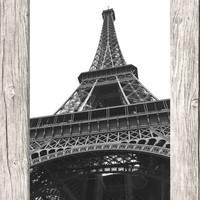 Eiffel Tower Photo - Black and White Paris Travel Photography - Printable Digital Photo Download