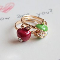 Lovely Apple Shape Girls Rings(2 items) : Wholesaleclothing4u.com