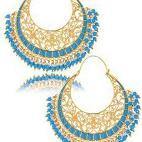 ISHARYA MOONBALI Turquoise Hoops - ACCESSORIES | JEWELRY | Earrings | Hoops | PRET-A-BEAUTE.COM