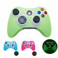 GREEN GLOW in DARK Xbox 360 Game Controller Silicone Case Skin Protector Cover (Many Colors Availab