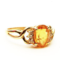 Vintage Yellow 10K Gold Ring with Oval Citrine and Accent Diamonds, Size 6.75 (V173)