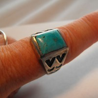 Man's Turquoise Ring w Copper Inclusion from giltygirlvintage on Ruby Plaza