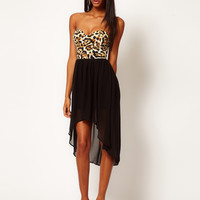 Motel Chika Bandeau Hi Lo Dress in Leopard Print