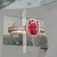 Red Spinel Engagement Ring in 14k Rose Gold Diamond Halo May Birthstone Gemstone Ring
