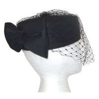 Chic classic vintage black pillbox hat with net veil and large bow - The Best in Vintage Clothing from Candy Says
