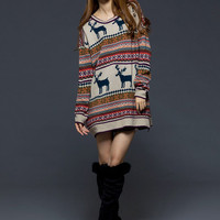 Casual Style Long Sleeve Loose Girls Sweaters Beige : Wholesaleclothing4u.com