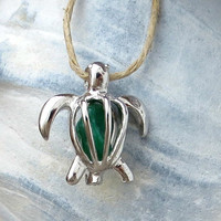 Silver Sea Turtle Green Glass Locket Necklace Pendant Honu