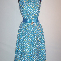 Vintage 1970s Blue Butterfly Dress Malia Honolulu