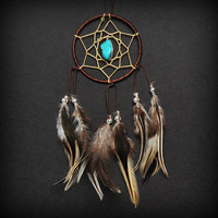 Brown Turquoise Stone Car Mirror Dream Catcher