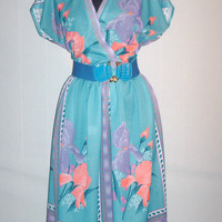 Vintage 1970s Turquoise Dress Tropical Floral Design