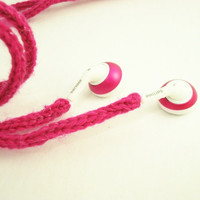 Tangle-Free Earbud Cozy, Pink Glitter, matches Pink iPod Nano