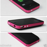2000mAh Charging External Charger Backup Battery Case for iPhone4 4S 4G 4 &amp; Pink