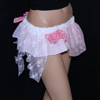 UV Pastel Baby Pink Trashy Lace Micro Mini GoGo Skirt by mtcoffinz- Entire skirt glows in blacklight