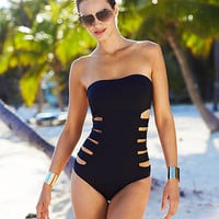 Kenneth Cole Reaction Swimsuit, Bandeau Cutout One-Piece - Womens Swimwear - Macy&#x27;s