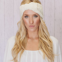 BOW Knitted Headband Bow Ear Warmer in Ivory Cream Petite Bow EarWarmer