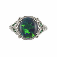 Art Deco Black Opal and Emerald Ring