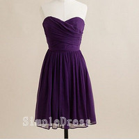 A-line Sweetheart Sleeveless Knee-length Chiffon Ruffles Short Bridesmaid/Evening/Party/Homecoming/Prom/Cocktail Dress 2013 New Arrival