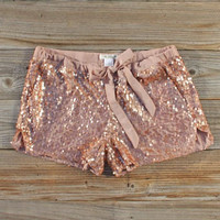 Glitter Girl Party Shorts, Women's Sweet Bohemian Clothing