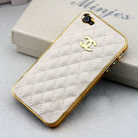 Cute Gold LOGO CC iPhone Case //  White Leather Case// Case White Cover // Case for iPhone4 /4s/5 // iPhone Hard Case
