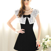 Bowknot Round Neck Fashion Dress S/M/L