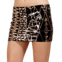 Pre-Order: Black/Gold Triangle Design Sequin Skirt
