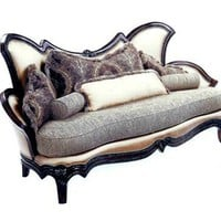 Home Living Style Living Room Furniture - Italian Ivory Sofa with Grey Fabric Cushion, Carved Accents