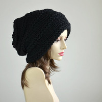 Slouch Beanie Slouchy Hat Black Hand Knit Chunky Wool Women Oversized Winter