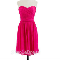 Custom A-line Sweetheart Sleeveless Knee-length Chiffon Short Bridesmaid/Evening/Party/Homecoming/Prom/Cocktail Dresses 2013 With Pleated