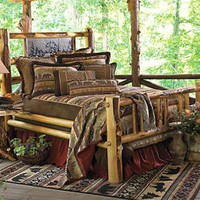 Log Bed with Bear Slate Panel - Cal King