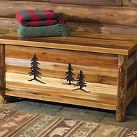 Barnwood Blanket Chest w/Tree Carvings