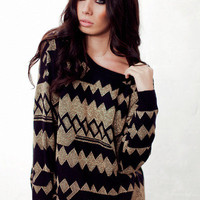 Becky - Metallic Gold Jumper