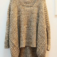 Irregular Hem Bat-wing Sleeves Sweater