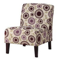 Linon Lily Slipper Chair with Purple Floral Design | Wayfair