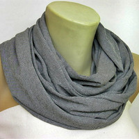 Grey plain cotton jersey scarfnecklace by ColorfullScarfs on Etsy