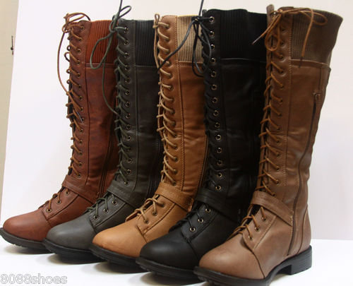 Women's Winter Military Lace Up Low Heel Knee High Boot Shoes W/ Zipper NEW