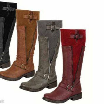 Women's Causal Low Flat  Heel Buckle Round Toe Zipper Riding Knee High Boot