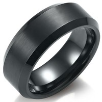 Mens Solid Black Tungsten Ring Wedding Band 8mm Jewelry - Free Shipping (8)