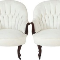 One Kings Lane - Laurin Copen - Tufted Slipper Chairs, Pair