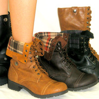 Lace Up Combat Military Fold Over *Flat Mid Calf Riding Cuff Boots