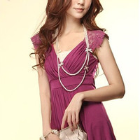 Purple Gorgeous Lace Splicing Cotton Ladies Tops : Yoco-fashion.com