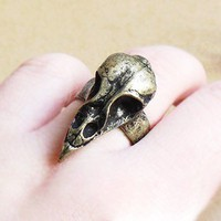 Vintage Bird Skull Animal Ring