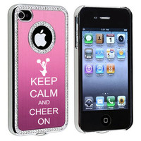 Light Pink Apple iPhone 4 4S 4G Rhinestone Crystal Bling Aluminum Plated Hard Case Cover S427 Keep Calm and Play On CHEER
