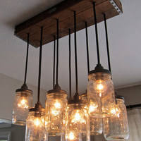 Handcrafted Mason Jar Pendant Chandelier