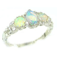 Ladies Solid Sterling Silver Natural Fiery Opal English Victorian Trilogy Ring - Finger Sizes 5 to
