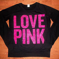 Victoria's Secret PINK Pull Over Sweatshirt Bling Glitter Rare PINK BLACK Size S